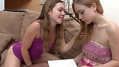 Blonde licking a horny lesbian