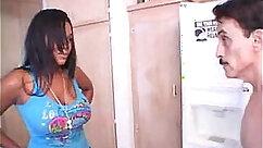 Big tits latina guzzles massive black and white dudes dick balls deep