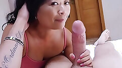 Asian quiver is filled with cum by mature cougar