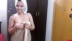 Busty Nerd Strips & Fucks Nylons In The Shower