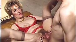 Busty and hairy mature cuckold assfucked