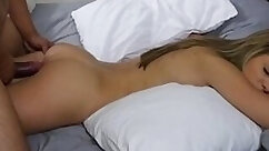 Classy light haired beauty gets her pussy drilled doggy while stuffing their mouths
