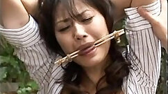 Asian tramps tug on toes at hardcore BDSM session