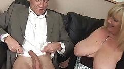 Busty secretary plowed hard by massive client