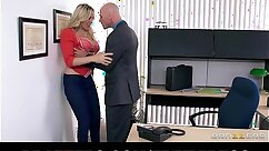 Boss Julia Ann banged and creampied by two nerds