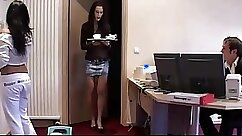Busty short haired office secretary takes part in threesome