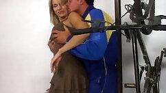 Cute blonde Milf FTV in tight blue plaid dress dressing pants physical